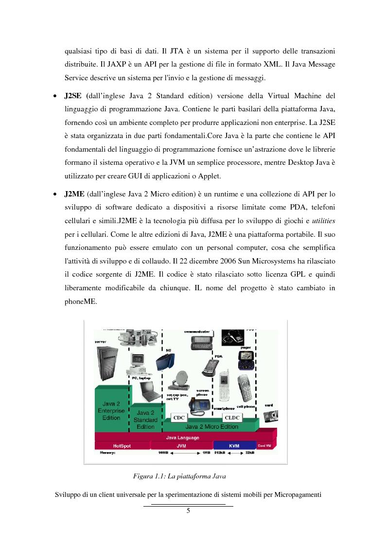 Anteprima della tesi: Sviluppo di un client universale per la sperimentazione di sistemi mobili per micropagamenti, Pagina 5