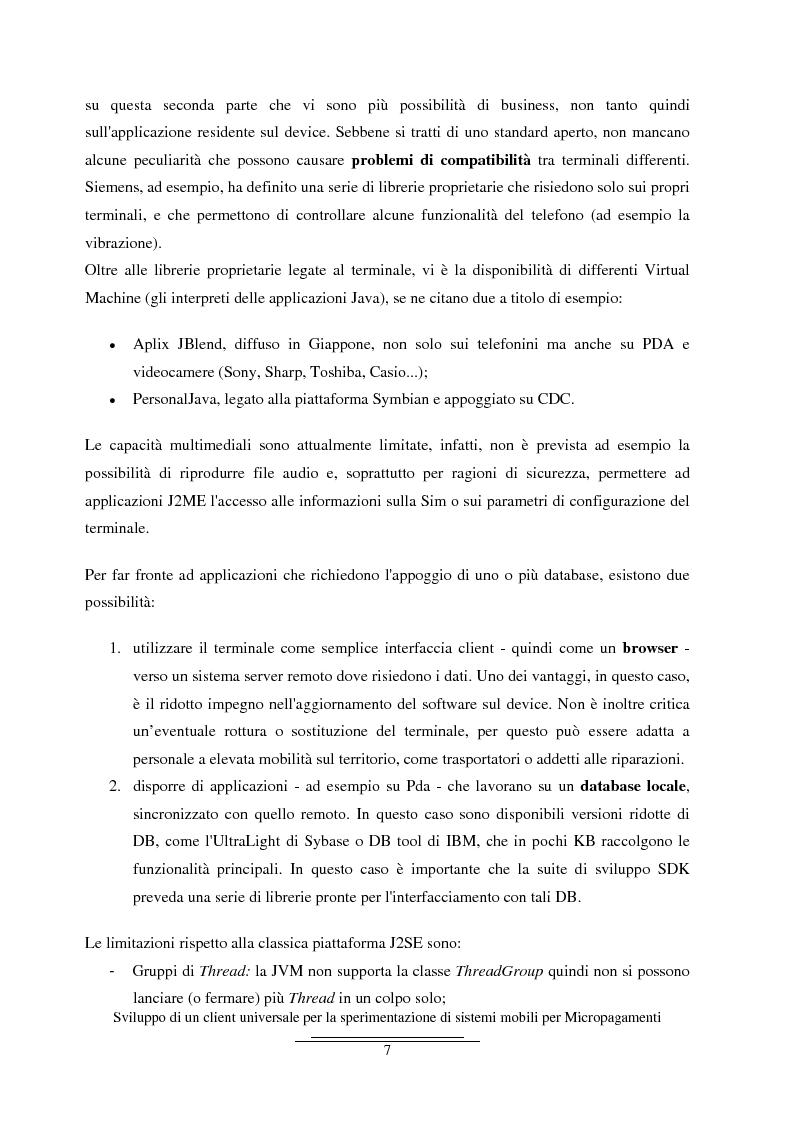 Anteprima della tesi: Sviluppo di un client universale per la sperimentazione di sistemi mobili per micropagamenti, Pagina 7