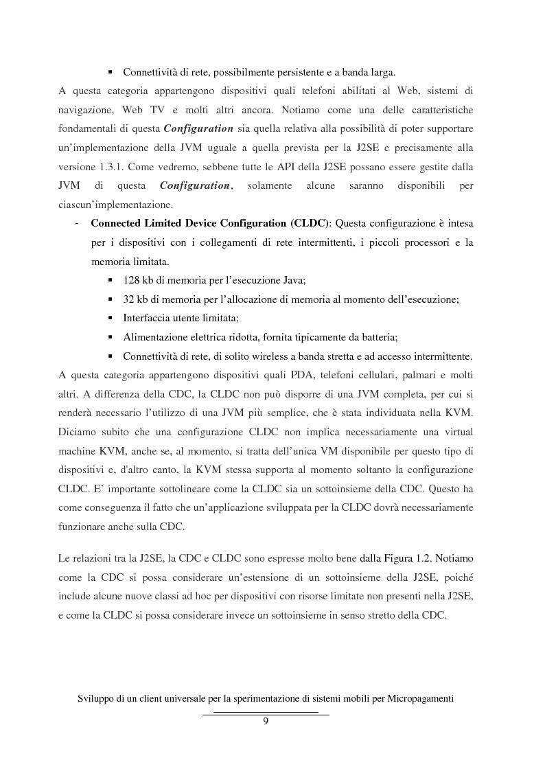 Anteprima della tesi: Sviluppo di un client universale per la sperimentazione di sistemi mobili per micropagamenti, Pagina 9