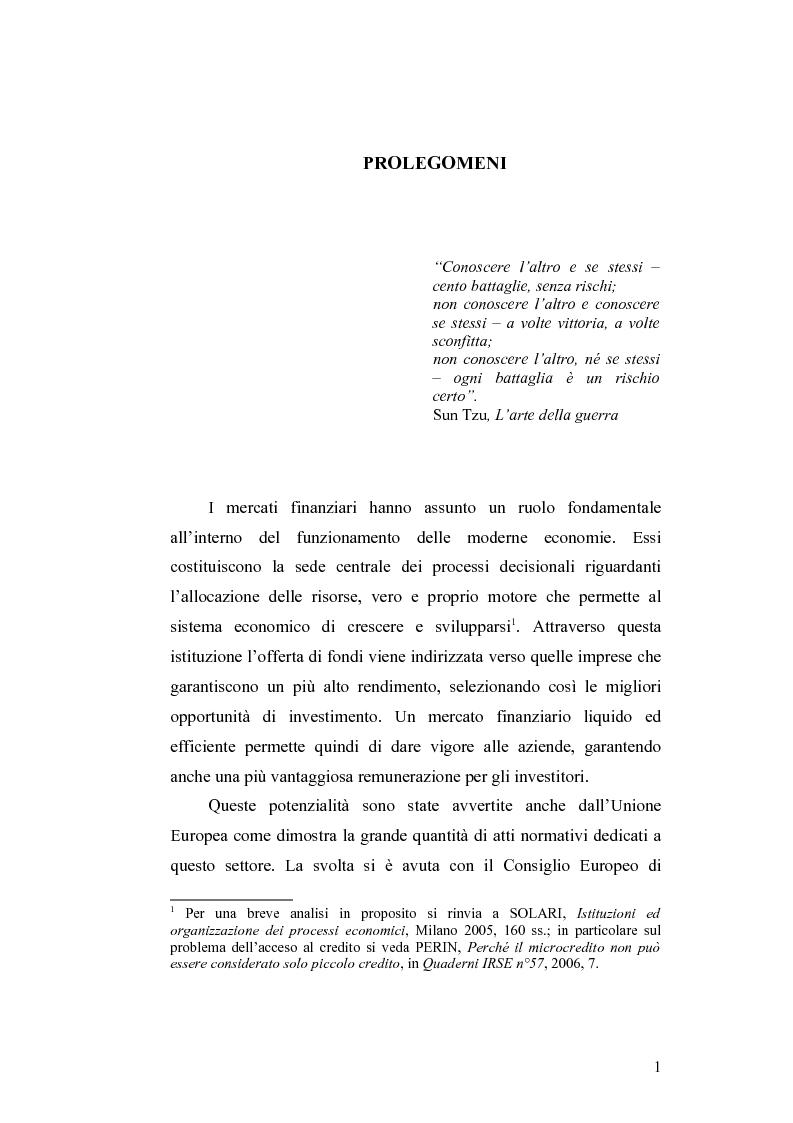 Anteprima della tesi: Gli obblighi informativi degli intermediari finanziari alla luce della direttiva 2004/39/CE, Pagina 1