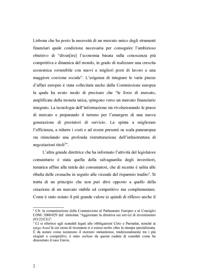 Anteprima della tesi: Gli obblighi informativi degli intermediari finanziari alla luce della direttiva 2004/39/CE, Pagina 2