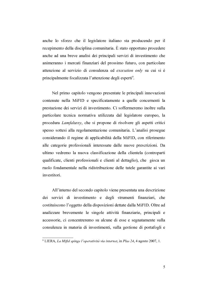 Anteprima della tesi: Gli obblighi informativi degli intermediari finanziari alla luce della direttiva 2004/39/CE, Pagina 5