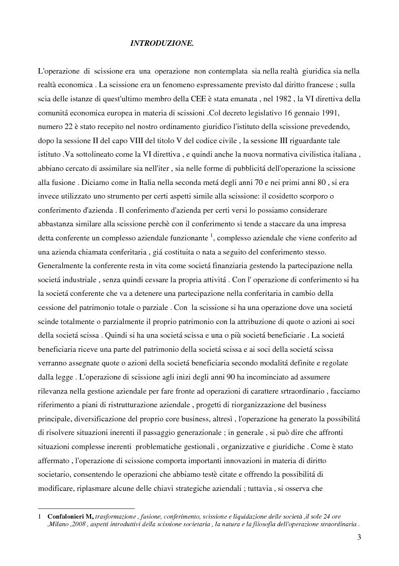 La scissione societaria transfrontaliera: aspetti civilistici, fiscali e strategici - Tesi di Laurea