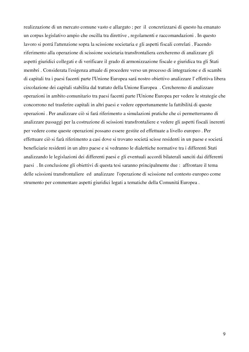 Anteprima della tesi: La scissione societaria transfrontaliera: aspetti civilistici, fiscali e strategici, Pagina 7