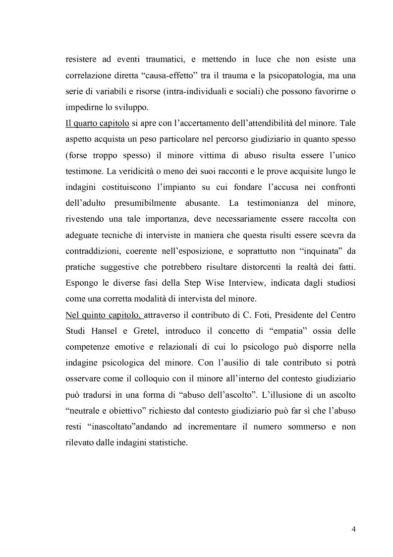 Anteprima della tesi: Aspetti psicologico-giuridici dell'abuso sui minori. Dalla denuncia al trattamento, Pagina 2