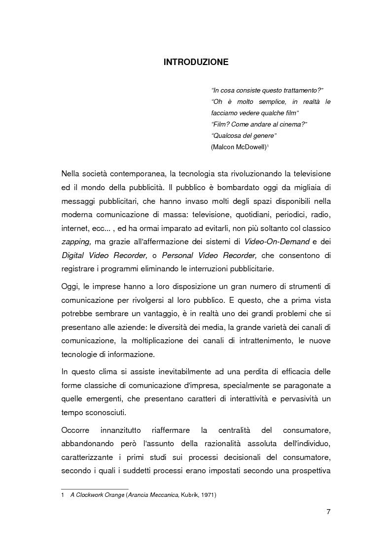 Anteprima della tesi: Il Product Placement nel panorama cinematografico italiano, Pagina 1