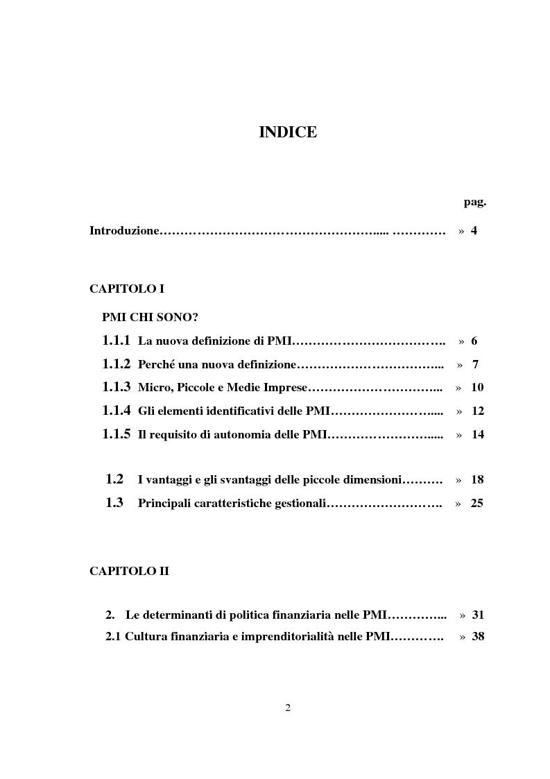Indice della tesi: Pmi, crescita e fabbisogno finanziario: un ruolo possibile per il venture capital, Pagina 1
