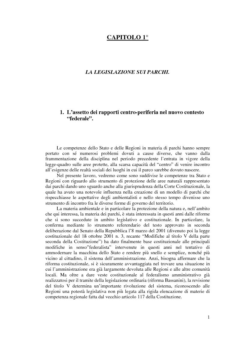 I parchi naturali tra legislazione e giurisprudenza costituzionale - Tesi di Laurea