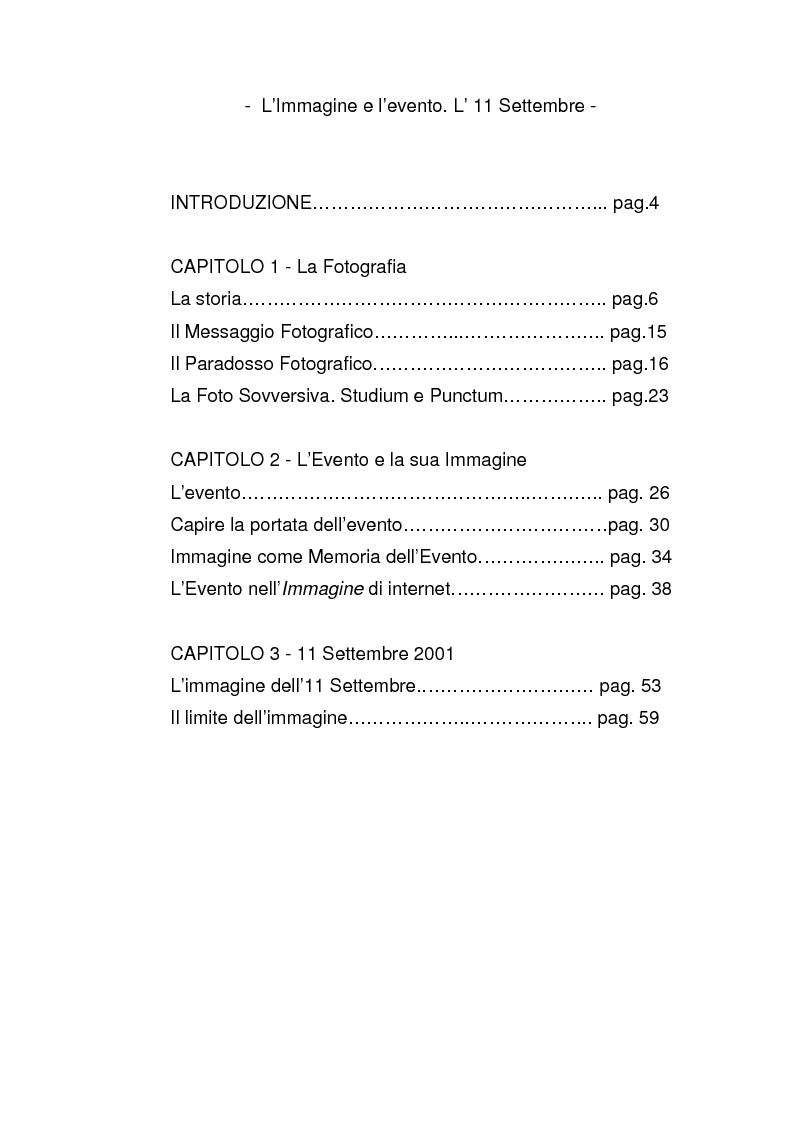 Indice della tesi: Immagine e evento. L'11 settembre., Pagina 1