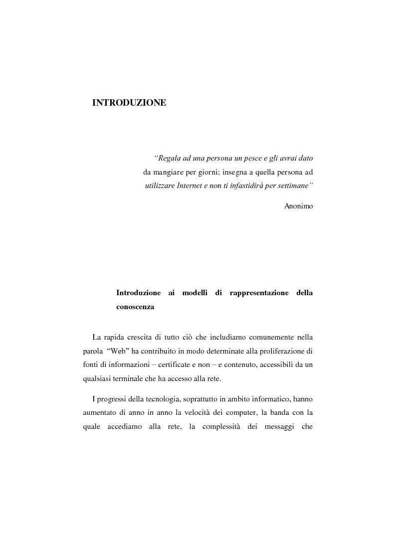 Anteprima della tesi: Web 3.0: modelli di rappresentazione della conoscenza, Pagina 1