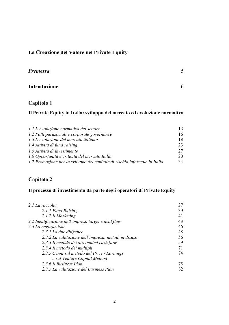 Indice della tesi: La creazione del valore nel private equity, Pagina 1