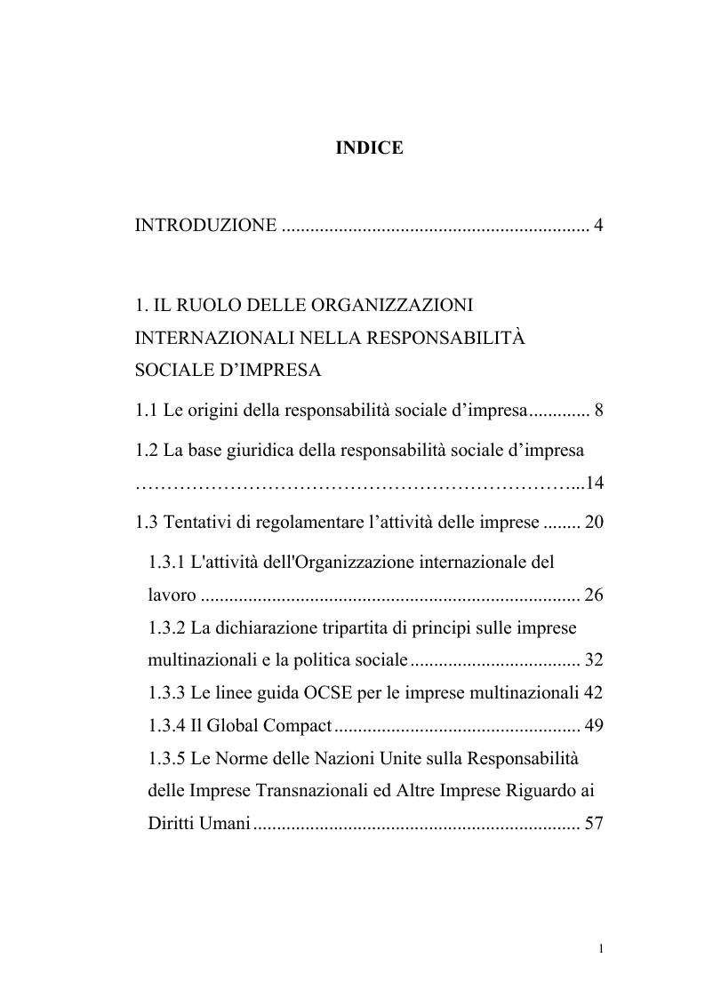 Indice della tesi: La responsabilità sociale d'impresa: il settore privato e il rispetto dei diritti umani tra volontarietà e norme vincolanti, Pagina 1