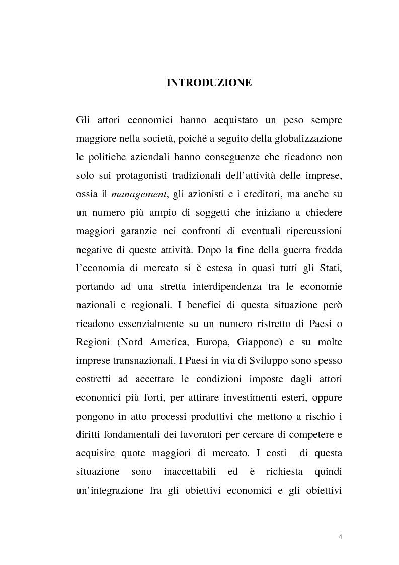 Anteprima della tesi: La responsabilità sociale d'impresa: il settore privato e il rispetto dei diritti umani tra volontarietà e norme vincolanti, Pagina 1