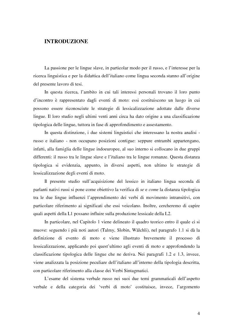 Lessicalizzazione di eventi di moto in italiano L2: il caso di apprendenti di L1 russo - Tesi di Laurea