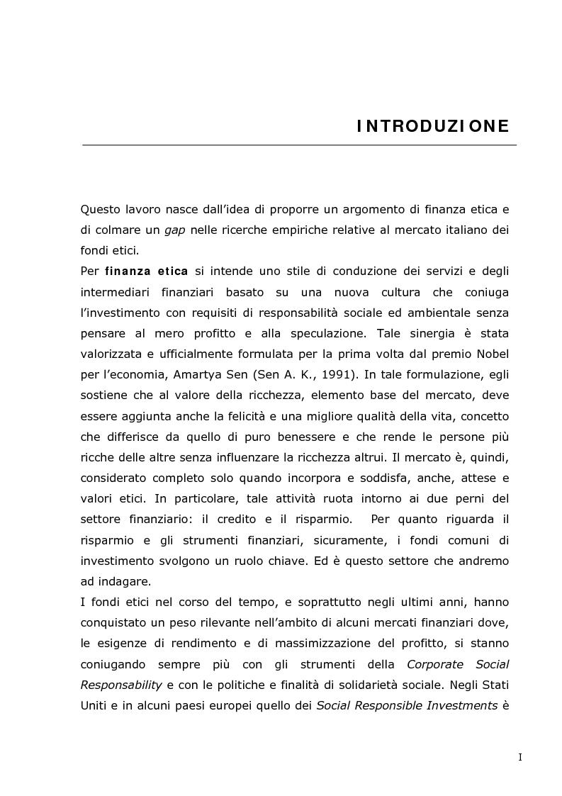 I fondi etici italiani: un'analisi di cointegrazione sulle serie storiche dei prezzi - Tesi di Laurea