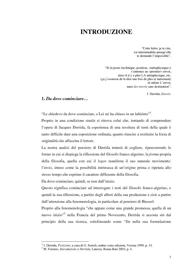Origine, differenza, invio. Sulle tracce della question en retour in Jacques Derrida - Tesi di Laurea