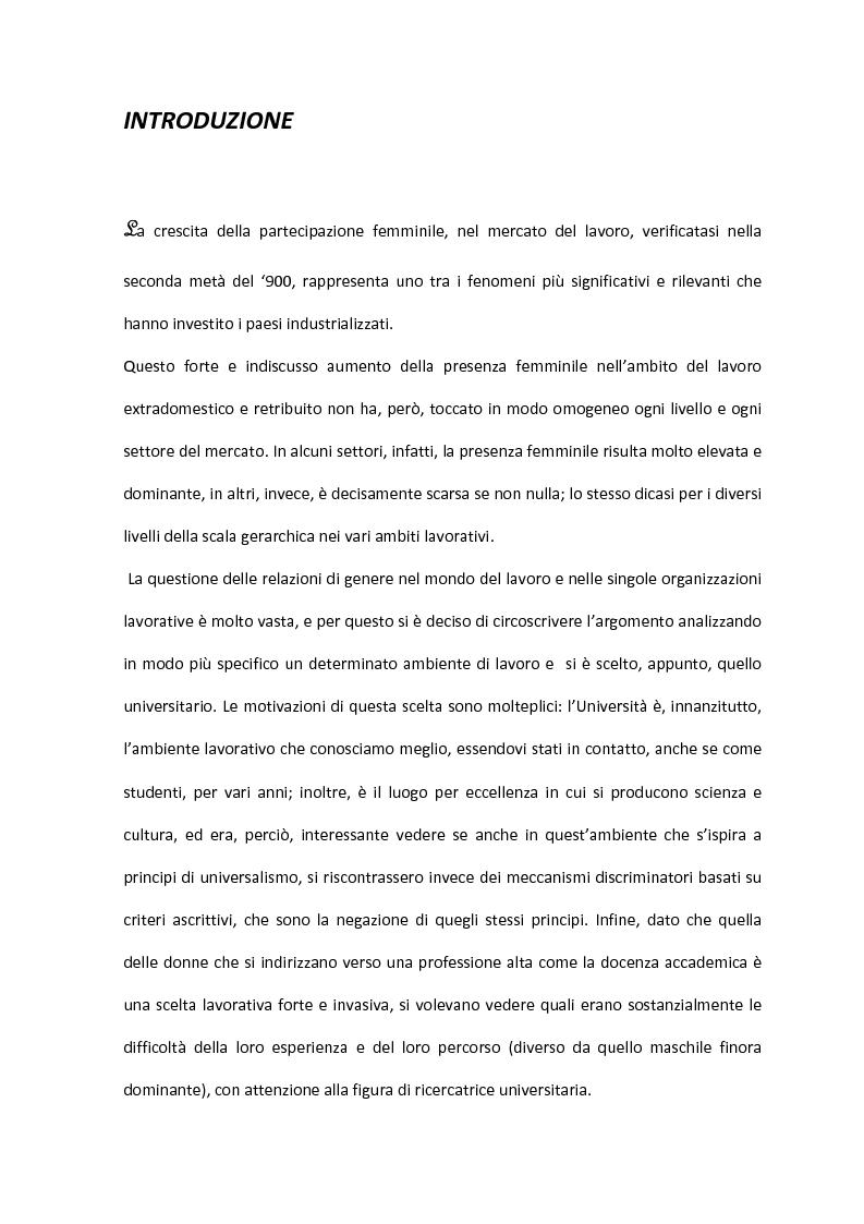 Anteprima della tesi: Donne in carriera: il caso delle ricercatrici universitarie; dalle difficoltà di carriera alle strategie di conciliazione tra lavoro e famiglia., Pagina 1