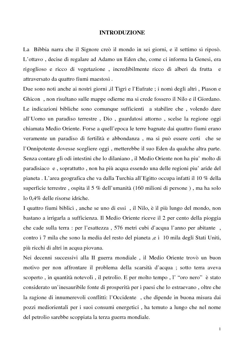 Anteprima della tesi: Le risorse idriche nel diritto internazionale con particolare riferimento alla Palestina, Pagina 1