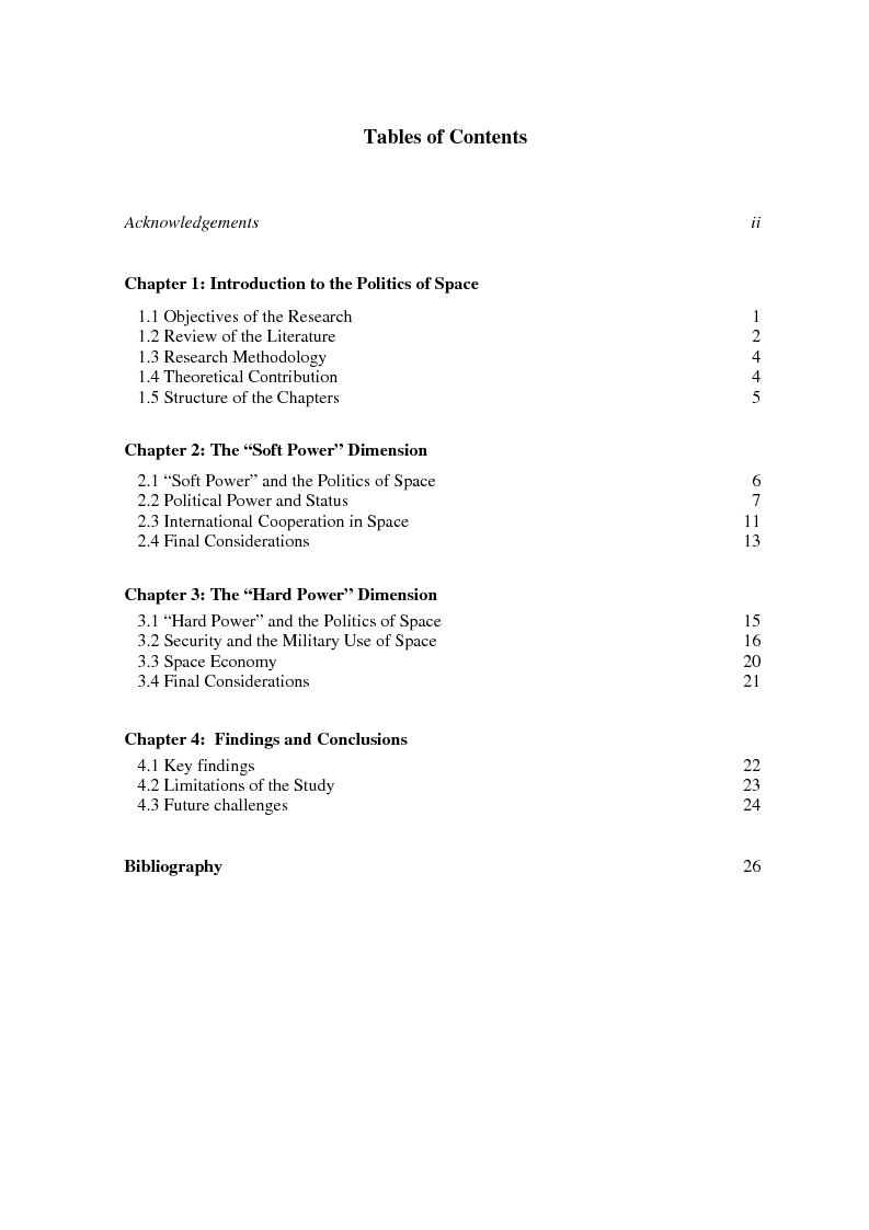 Indice della tesi: The Soft and Hard Power Dimensions of the Politics of Space, Pagina 1