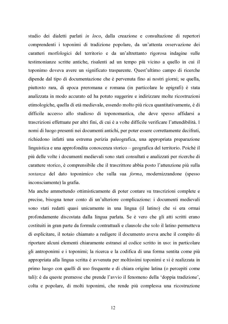 Anteprima della tesi: Toponomastica storica nelle pergamene della Pieve di Arco - Secoli XII-XIV, Pagina 4
