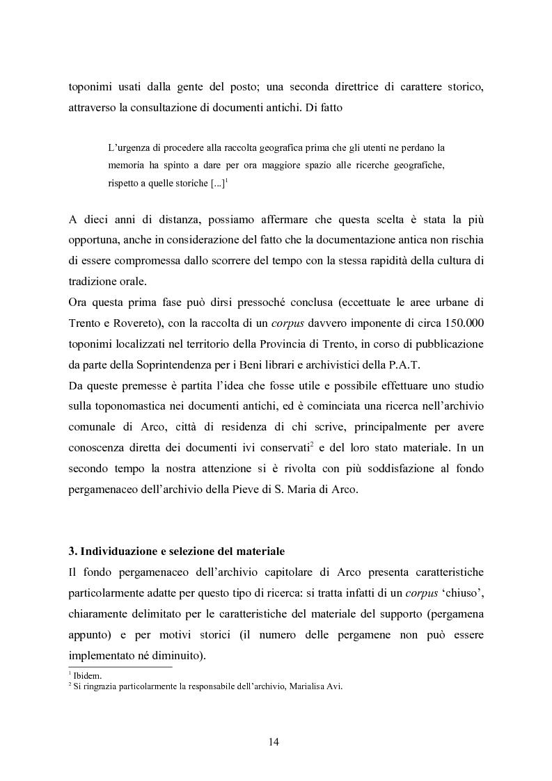 Anteprima della tesi: Toponomastica storica nelle pergamene della Pieve di Arco - Secoli XII-XIV, Pagina 6