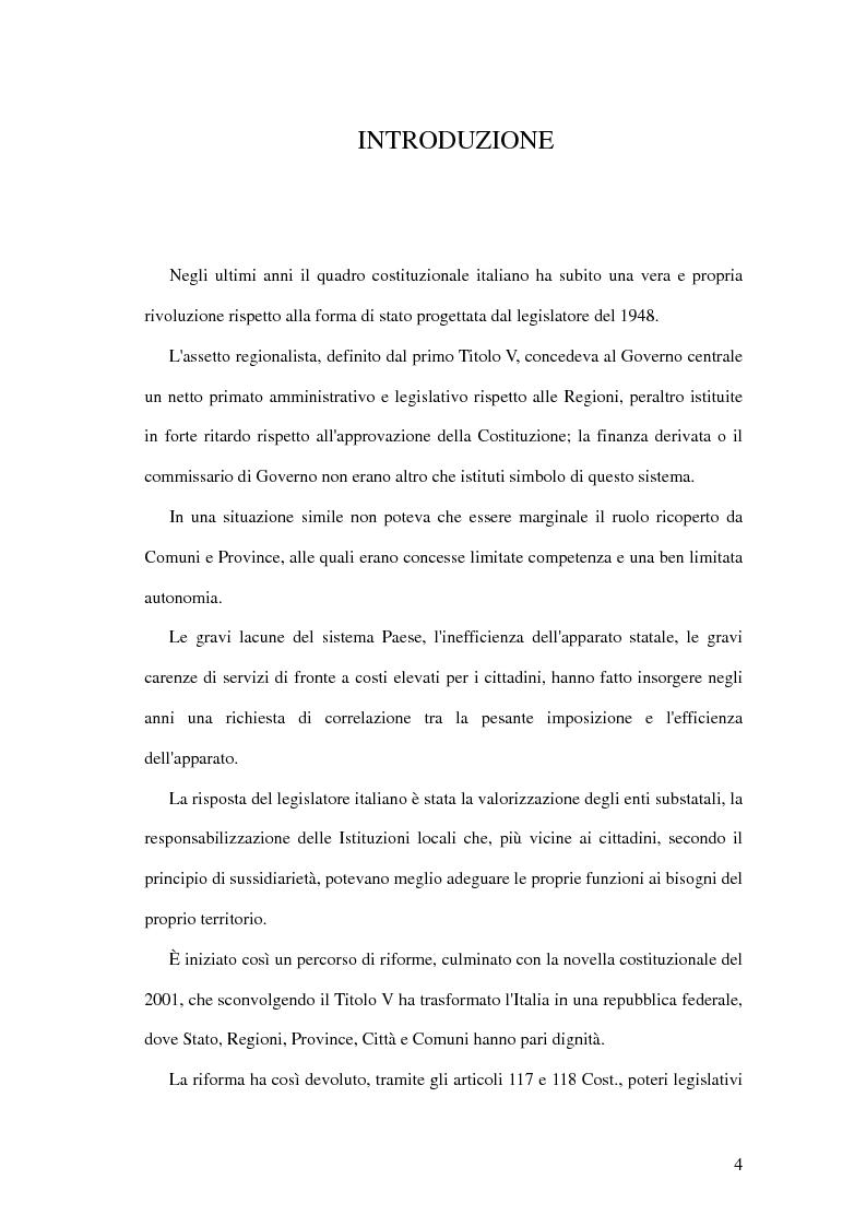 Federalismo fiscale. La problematica attuazione dell'art. 119 Cost. in sede locale - Tesi di Laurea