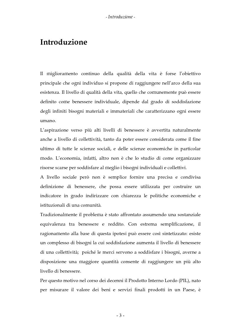Anteprima della tesi: La misurazione del benessere e la crescita. Aspetti teorici ed evidenza empirica., Pagina 1