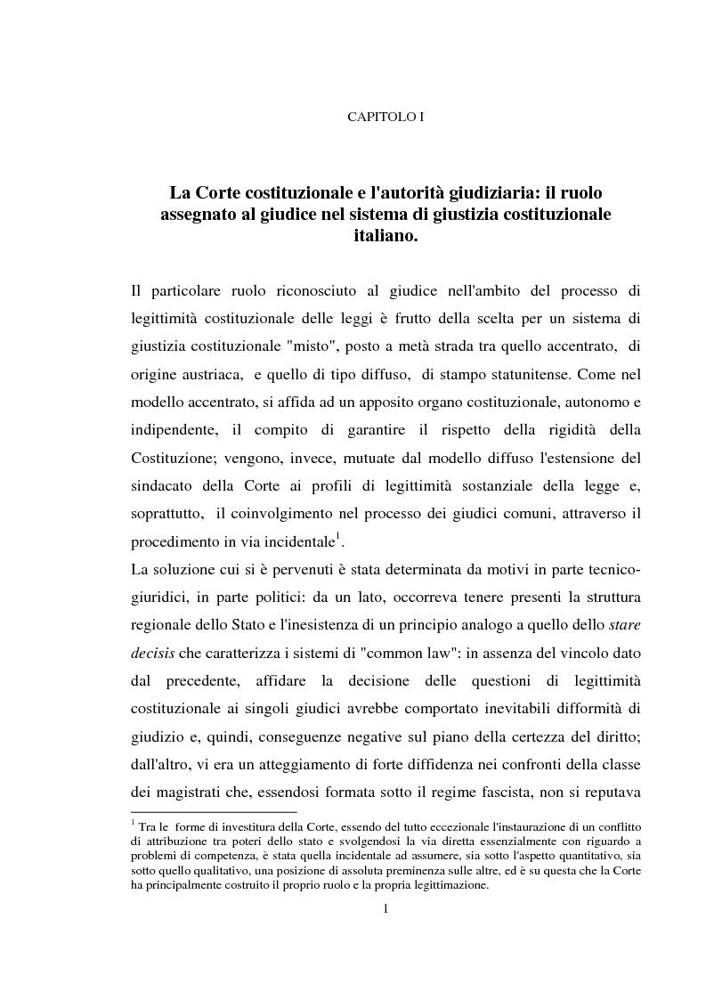 La nozione di giudice a quo nella pi� recente giurisprudenza costituzionale - Tesi di Laurea