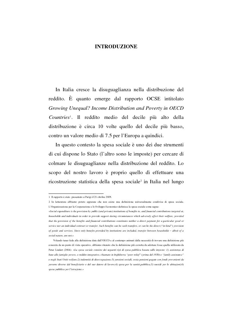 La spesa sociale in Italia, 1861-2005 - Tesi di Laurea