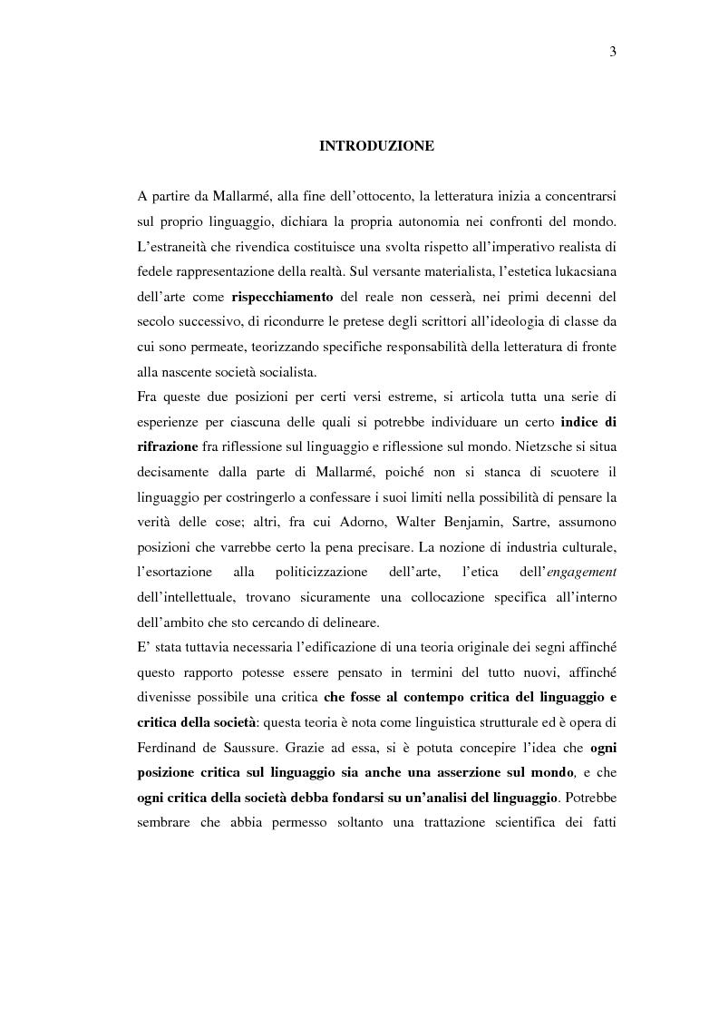 Anteprima della tesi: Roland Barthes e Jean Baudrillard: riflessione sul linguaggio e riflessione sulla società, Pagina 1