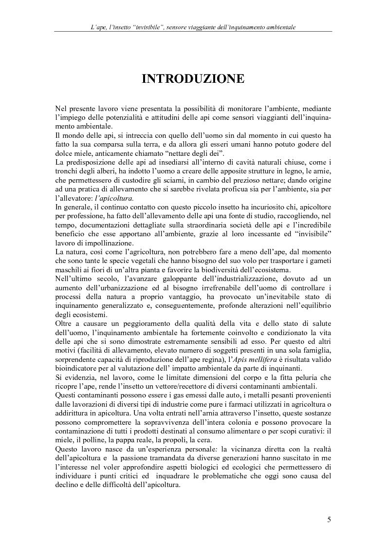 Anteprima della tesi: L'ape, l'insetto invisibile, sensore viaggiante dell'inquinamento ambientale, Pagina 1