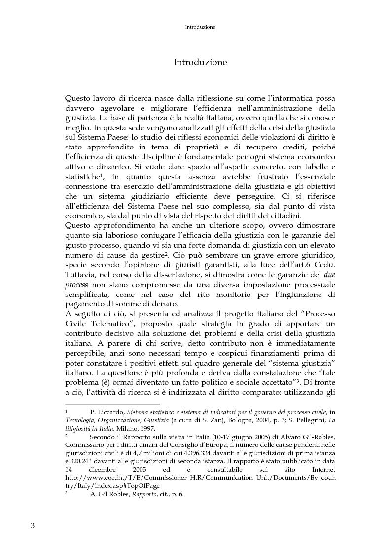 Applicazioni informatiche nel processo civile in diritto comparato - Tesi di Laurea