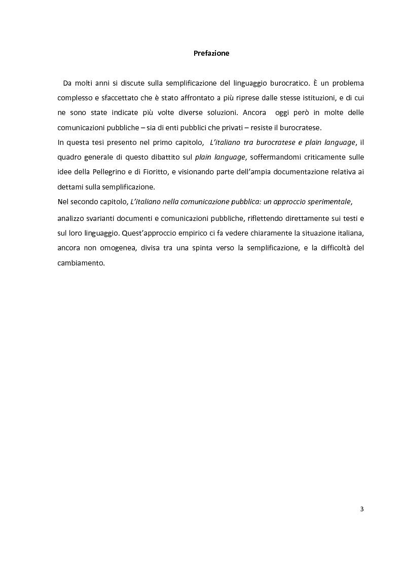 Questione di stile. La semplificazione dell'italiano burocratico - Tesi di Laurea