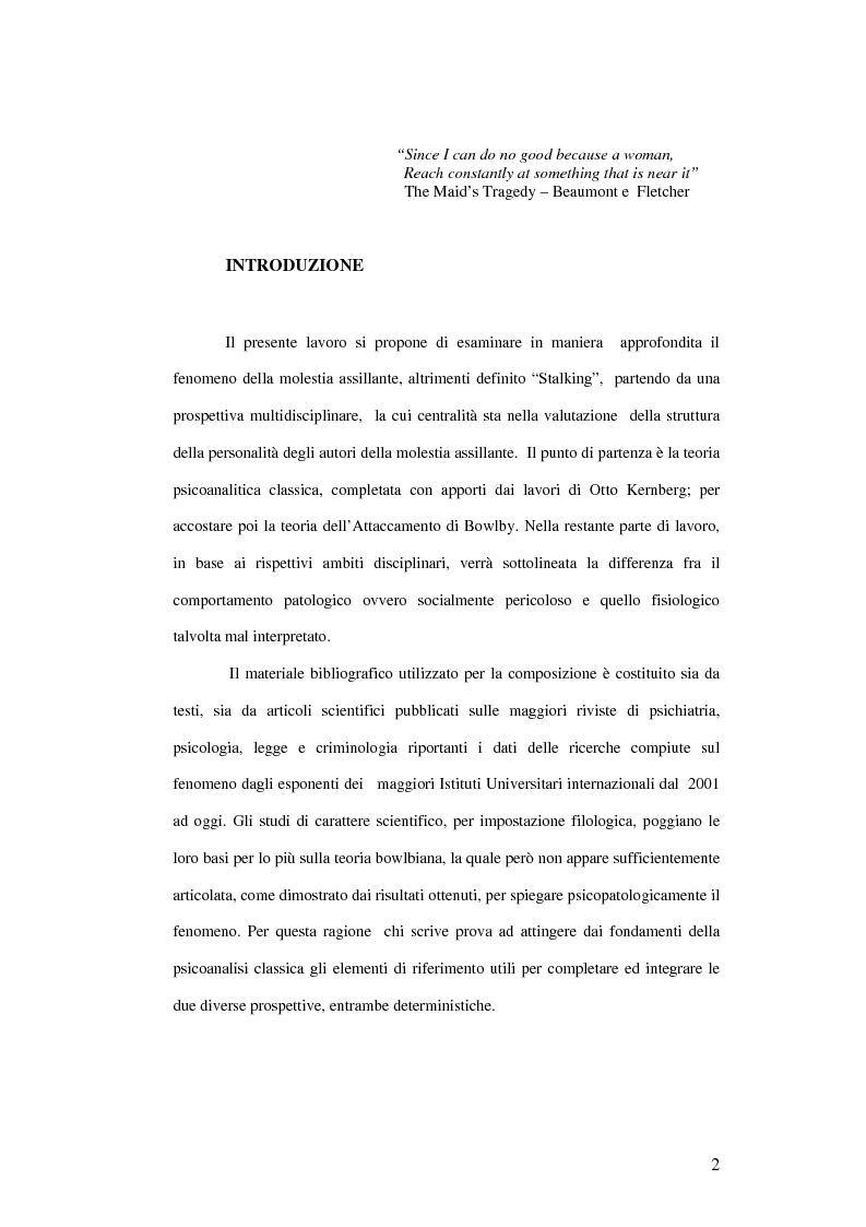 Stalking: breve compendio multidisciplinare - Tesi di Laurea