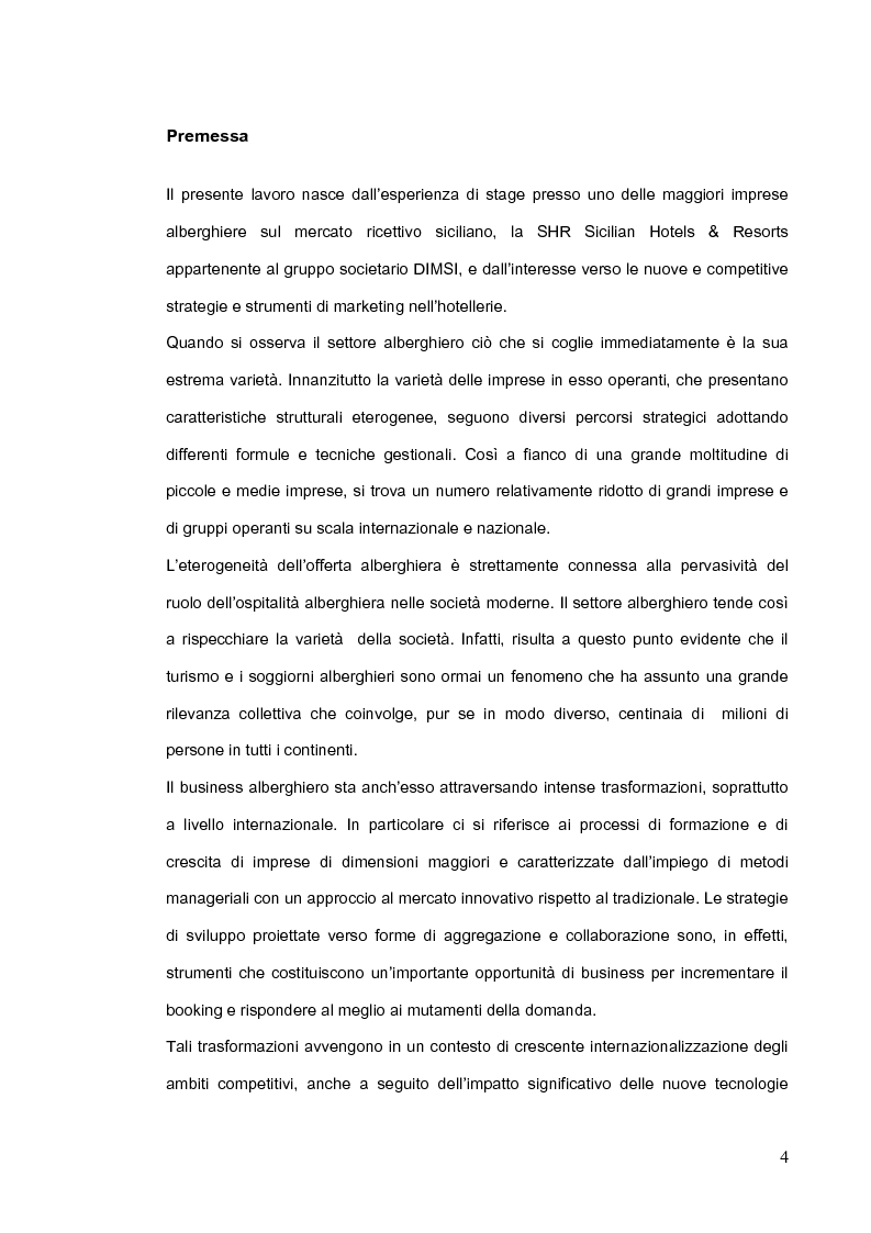 Strategie e strumenti di marketing a confronto nei network alberghieri: il caso SHR Sicilian Hotels & Resorts - Tesi di ...