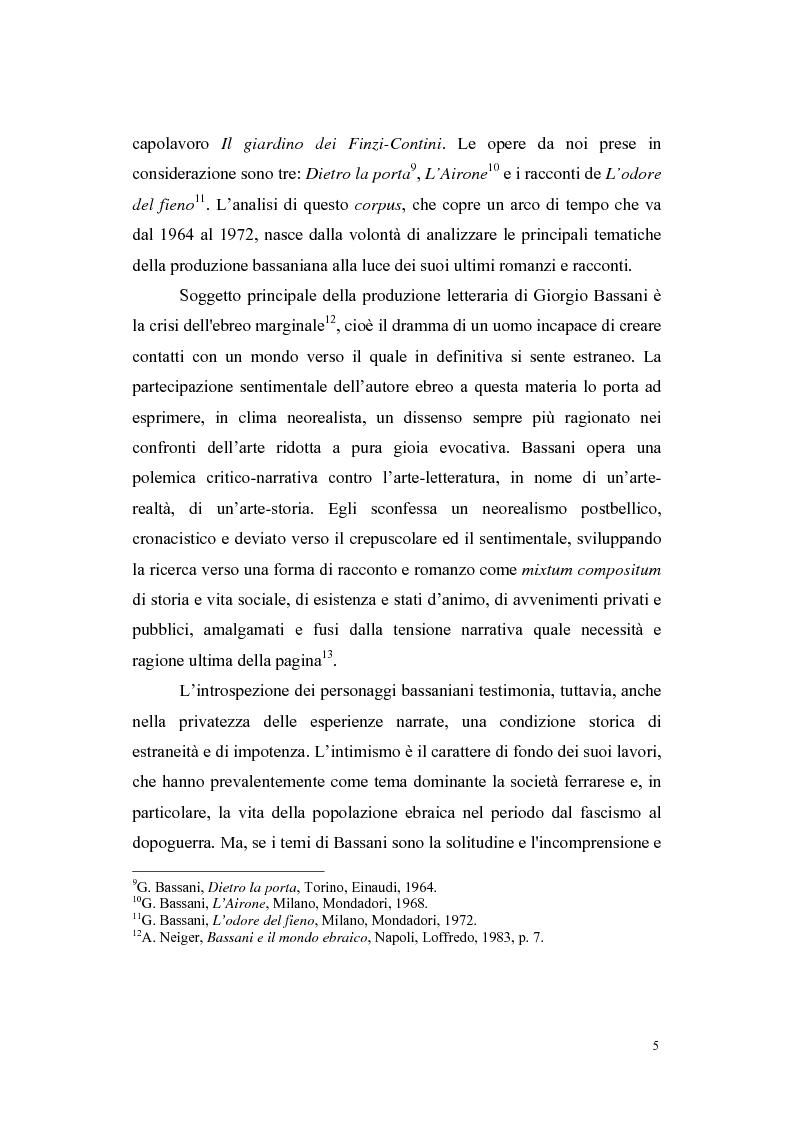 Anteprima della tesi: L'architettura romanzesca nella produzione dell'ultimo Bassani, Pagina 3