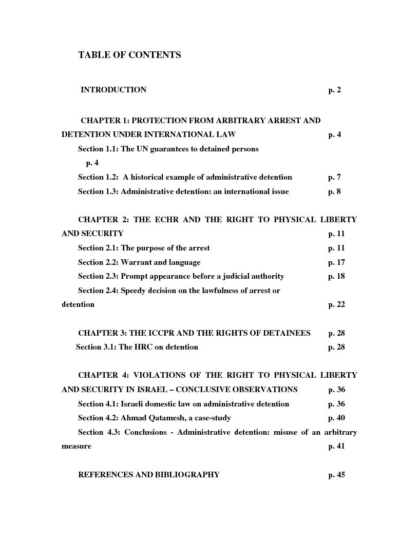 Indice della tesi: International Law and Administrative Detention, Pagina 1
