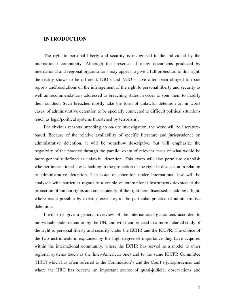 Anteprima della tesi: International Law and Administrative Detention, Pagina 1