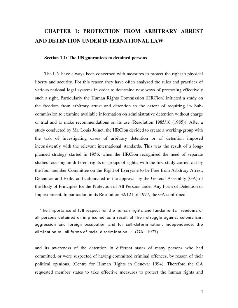 Anteprima della tesi: International Law and Administrative Detention, Pagina 3