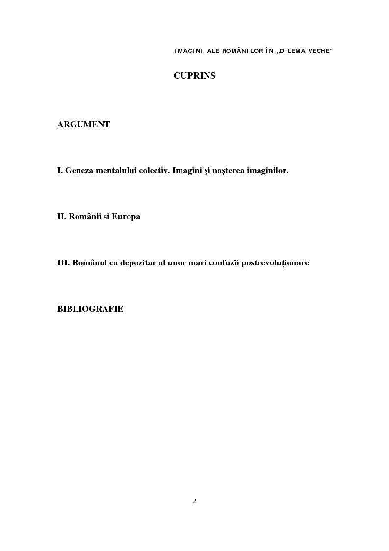 Indice della tesi: Imagini ale românilor în ''Dilema veche'', Pagina 1