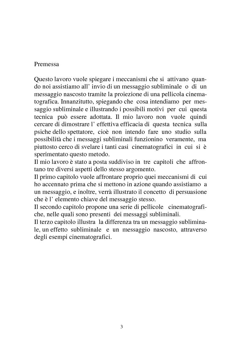 Anteprima della tesi: Riflessioni intorno alle strategie di persuasione nel cinema: il caso dei messaggi subliminali, Pagina 1