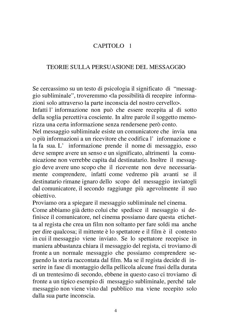 Anteprima della tesi: Riflessioni intorno alle strategie di persuasione nel cinema: il caso dei messaggi subliminali, Pagina 2