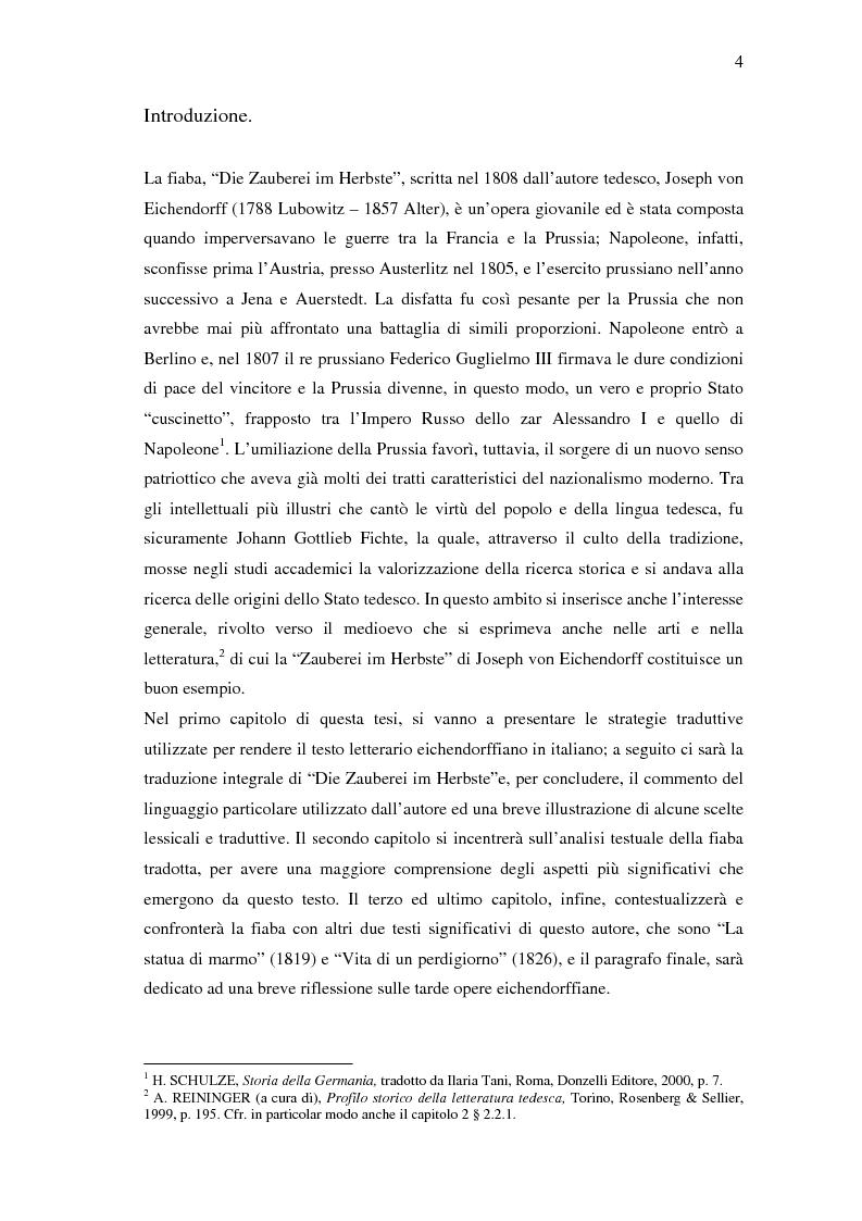 ''Die Zauberei im Herbste'' di Joseph von Eichendorff: traduzione ed analisi - Tesi di Laurea