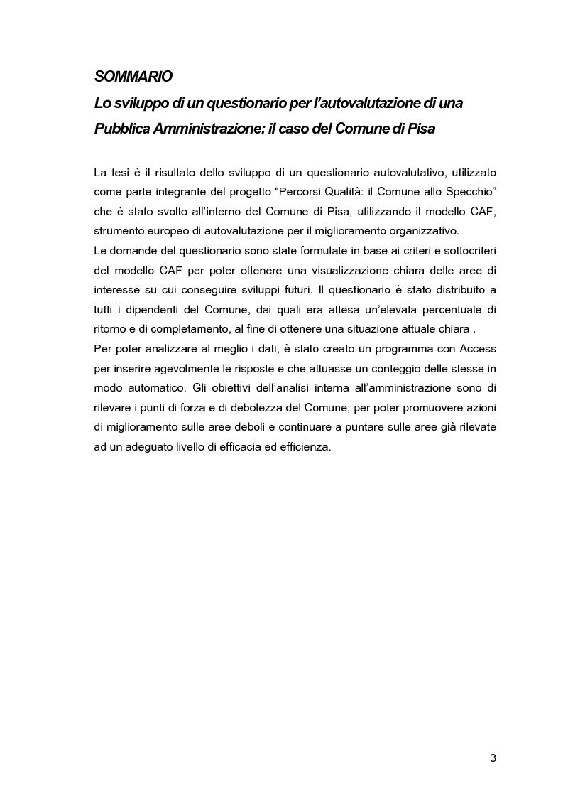 Lo sviluppo di un questionario per l'autovalutazione di una Pubblica Amministrazione: il caso del Comune di Pisa - Tesi ...