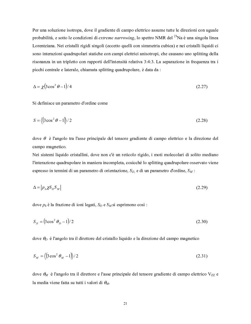Anteprima della tesi: Studio Nmr multinucleare di soluzioni isotrope e anisotrope di Na-Dna in assenza e in presenza di bromuro di etidio, Pagina 15