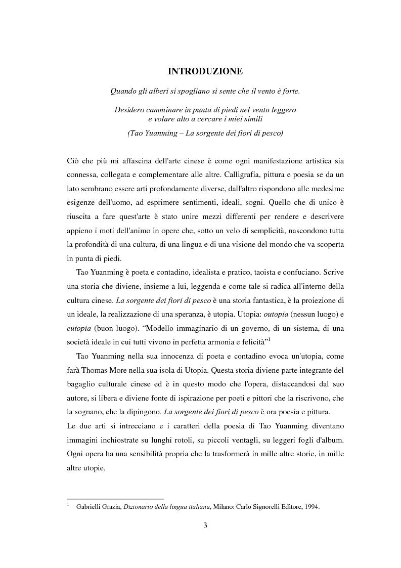 Anteprima della tesi: La sorgente dei fiori di pesco - Alla ricerca di un'utopia tra poesia e pittura, Pagina 1