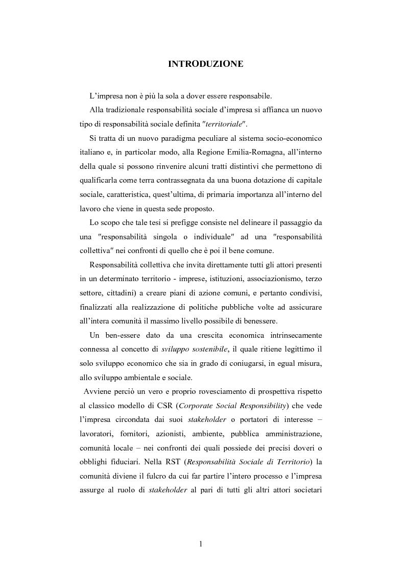 Anteprima della tesi: Dalla responsabilità sociale di impresa alla responsabilità sociale di territorio: il caso Impronta Etica, Pagina 1