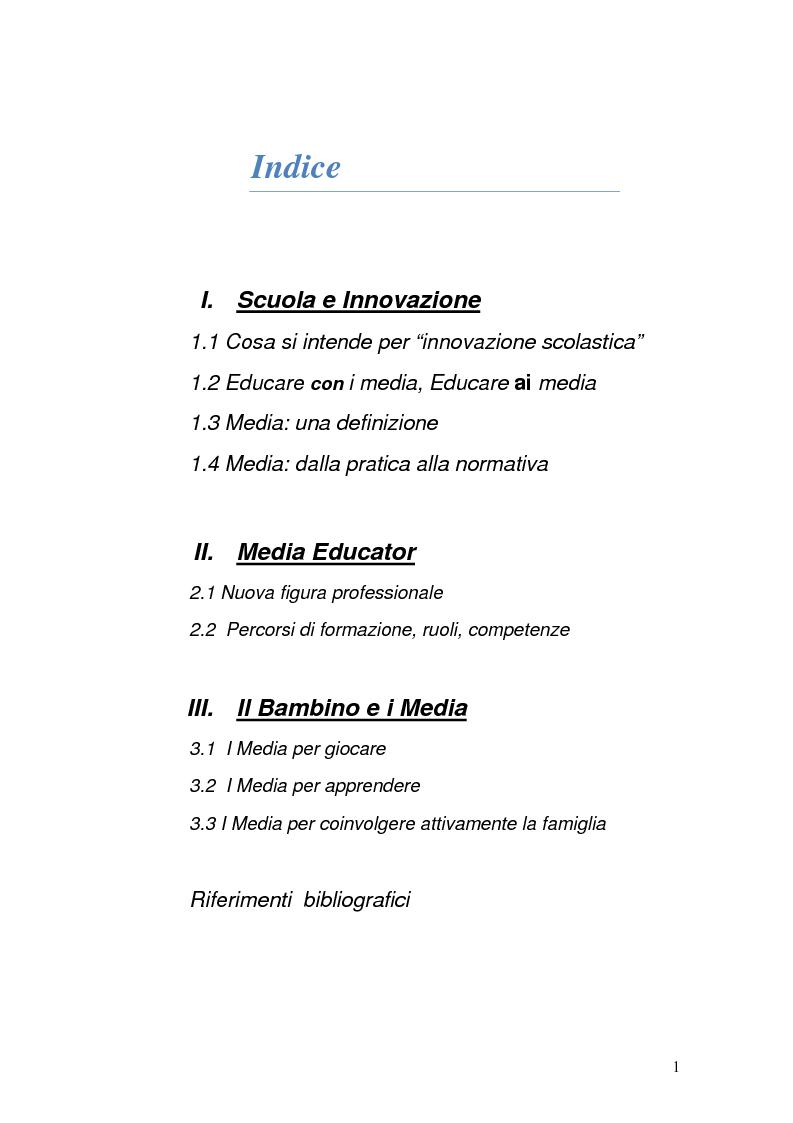 Indice della tesi: La scuola che cambia: radiografia di una rivoluzione. Quali ruoli per insegnanti e alunni, Pagina 1