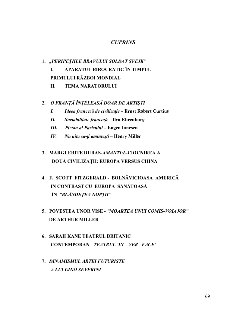 Indice della tesi: Scriitori Și Artisti Reprezentativi Din Secolele XIX Și XX - analiza operelor lor majore –, Pagina 1