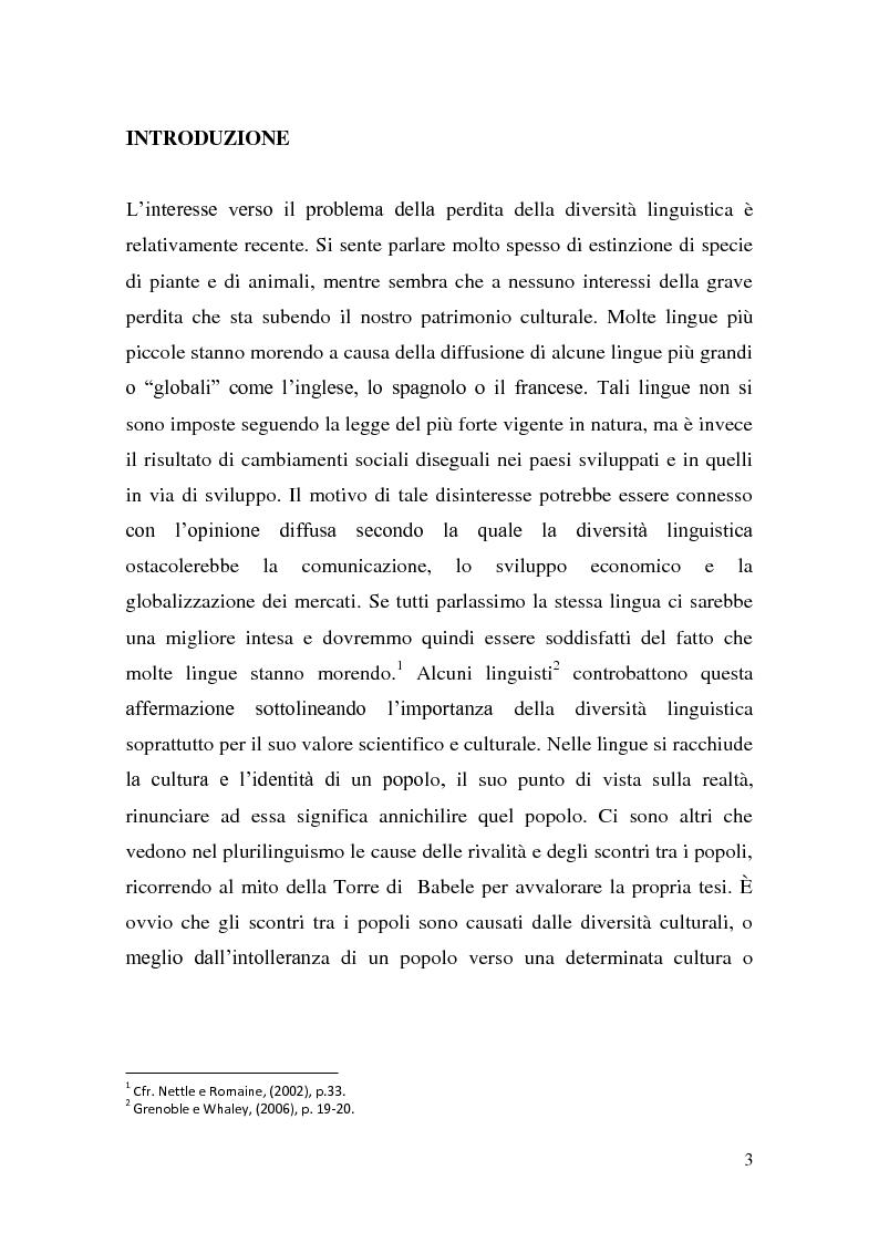 Anteprima della tesi: Aspetti e problemi relativi al mantenimento della lingua, Pagina 1